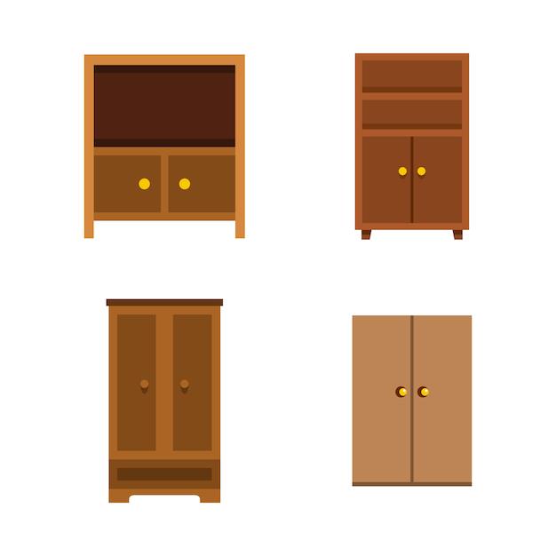 Wardrobe icon set. flat set of wardrobe vector icons collection isolated Premium Vector
