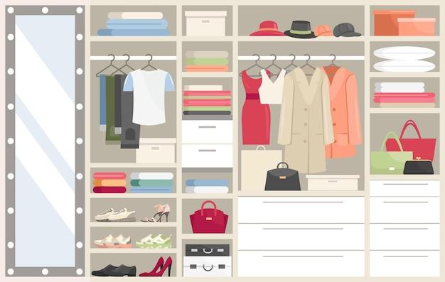 服を着たワードローブ。女性男性用衣類、ハンガー付きのクローゼットコンパートメントを開きました Premiumベクター