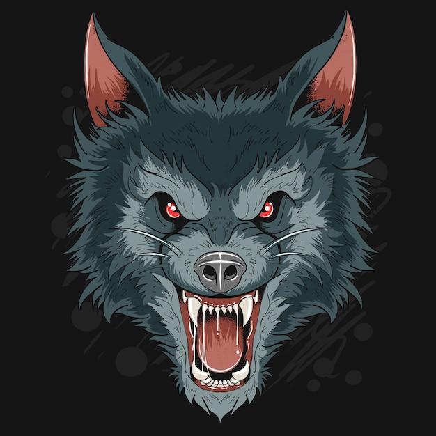 Ware wolf dog head dark night artwork Premium Vector