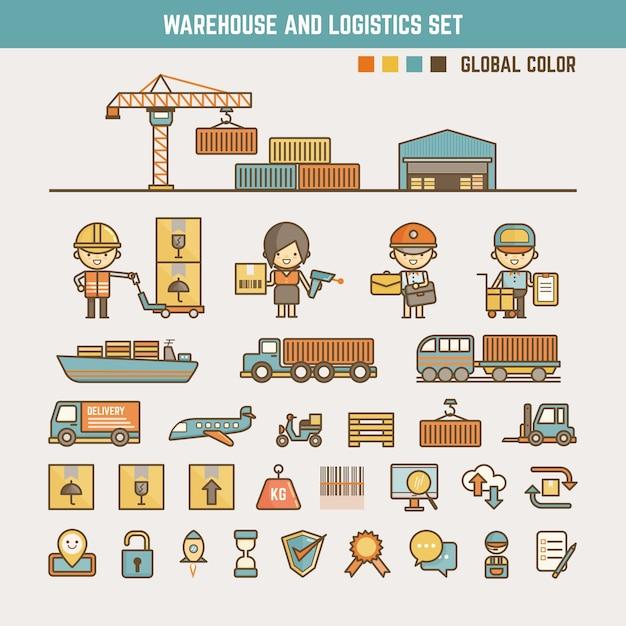 倉庫および物流情報要素 Premiumベクター