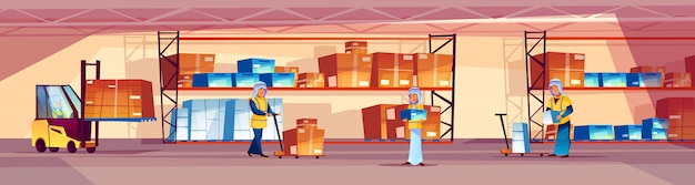 Warehouse and arab workers illustration of logistics storehouse with goods on shelf. Free Vector