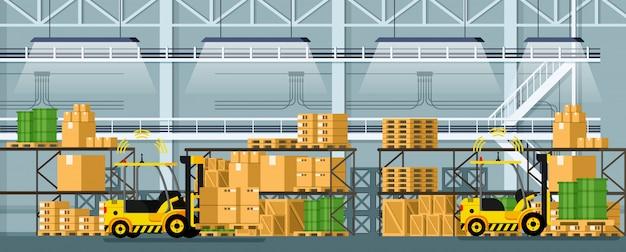 Warehouse automatic distribution forklift car Premium Vector
