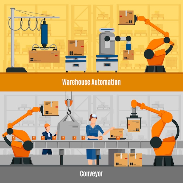 Warehouse automation banners set Free Vector