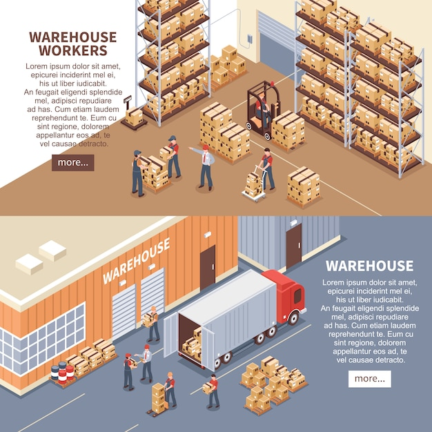 Warehouse banners set Free Vector