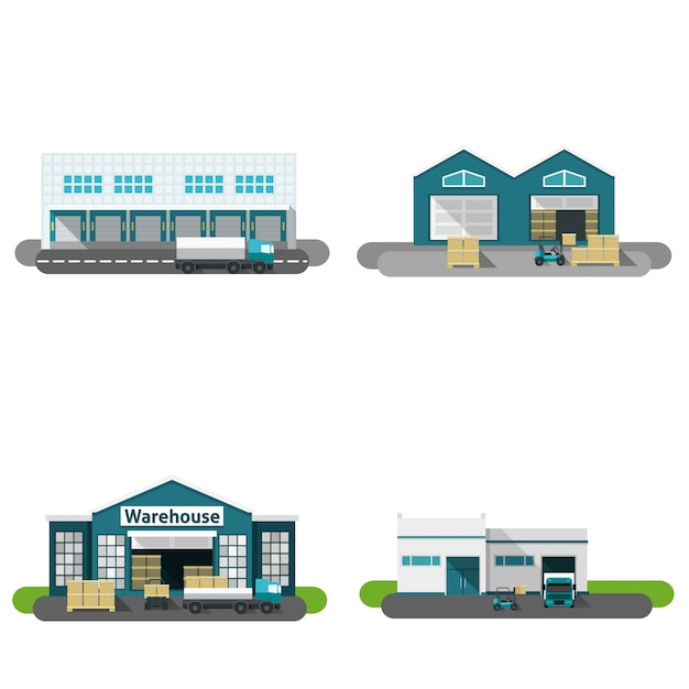 Warehouse building flat Free Vector