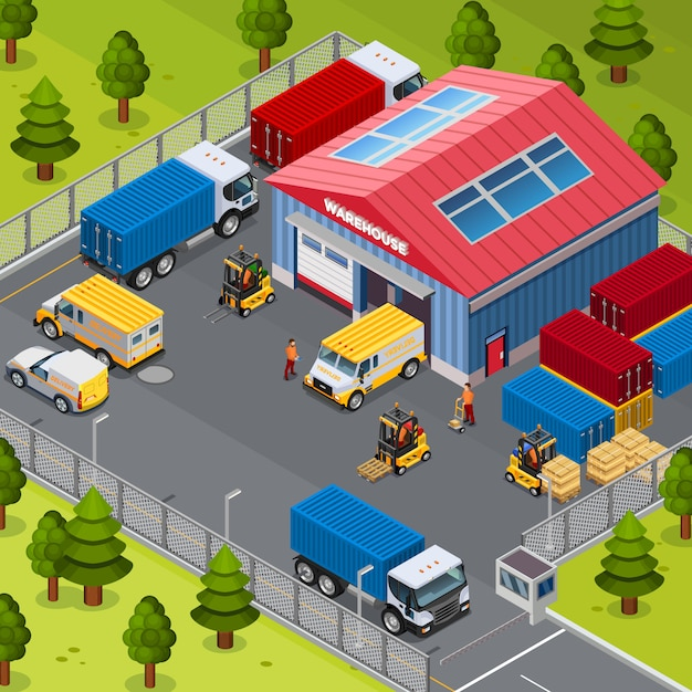 倉庫の建物外 無料ベクター