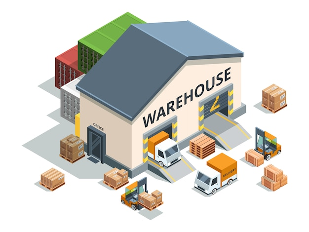 Warehouse building, trucks and load machines. Premium Vector