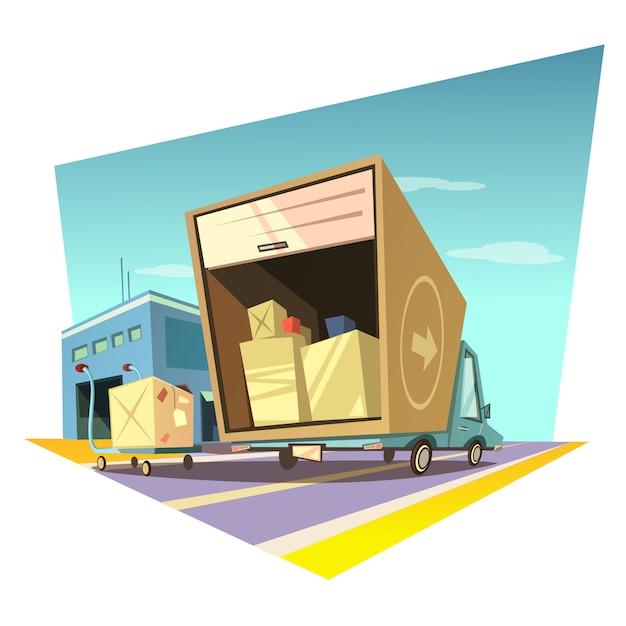 Warehouse cartoon illustration Free Vector