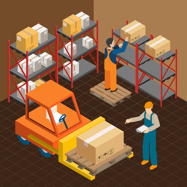 In the warehouse composition Free Vector