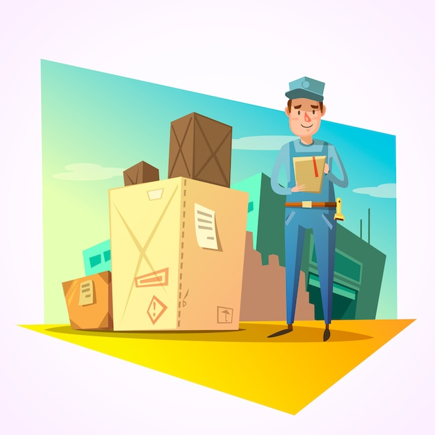 Warehouse concept with delivery worker and shipping boxes Free Vector