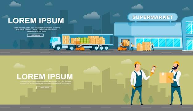 Warehouse delivering or distribution service set Premium Vector