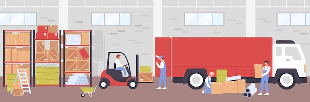 Premium Vector Warehouse Delivery Process Illustration Cartoon Flat Worker People Using Loader Forklift For Loading Boxes To Delivering Truck Working In Storehouse Building Logistic Service Background