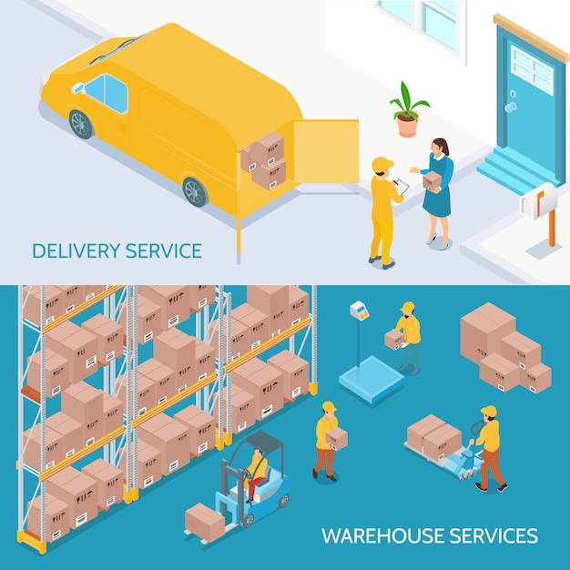Warehouse delivery services isometric banners Free Vector