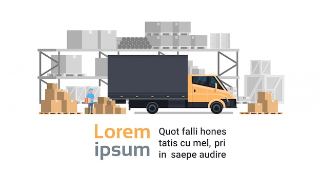 Warehouse delivery, truck car over containers building. shipping and transportation concept Premium Vector