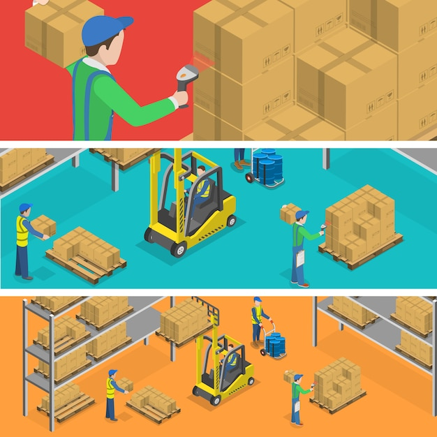 Warehouse and delivery. Premium Vector