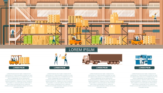 Warehouse and distribution service for banner Premium Vector