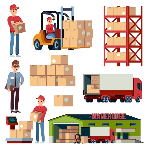 Warehouse  elements. logistic transportation and forklift, delivery cargo truck. loader with boxes   cartoon set Premium Vector