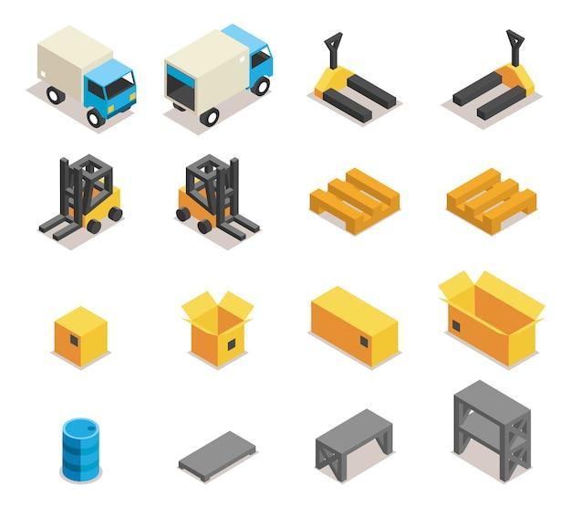 창고 장비 아이콘 세트입니다. 운송 및 지게차,화물 및 상자, 물류 및 배송, 무료 벡터