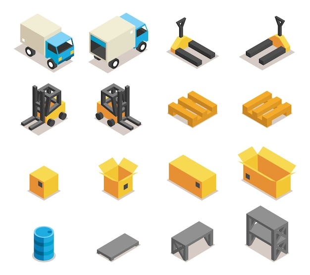 Warehouse equipment icon set. transportation and forklift, cargo and box, logistic and delivery, Free Vector