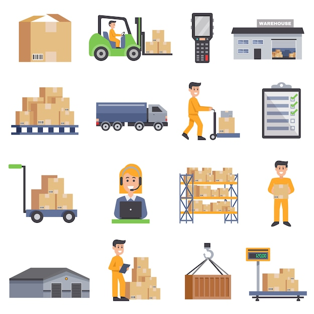 Warehouse flat icons set Free Vector