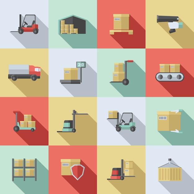 Warehouse flat icons set Premium Vector