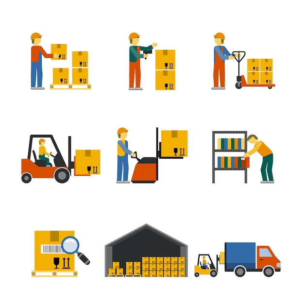 Warehouse Icon Flat Free Vector