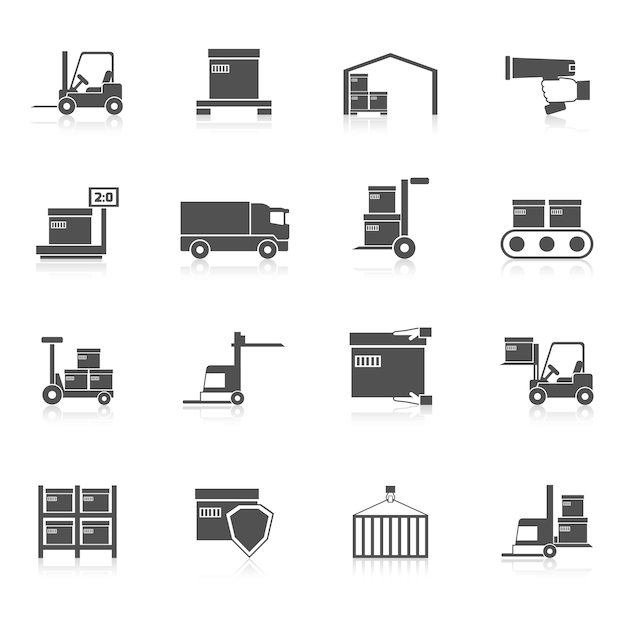 Warehouse icons black Premium Vector