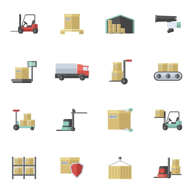 Warehouse icons flat set Free Vector