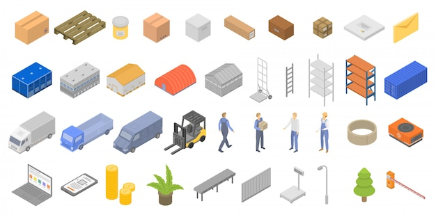 Warehouse icons set, isometric style Premium Vector