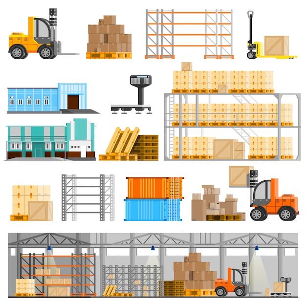 Warehouse icons set Free Vector