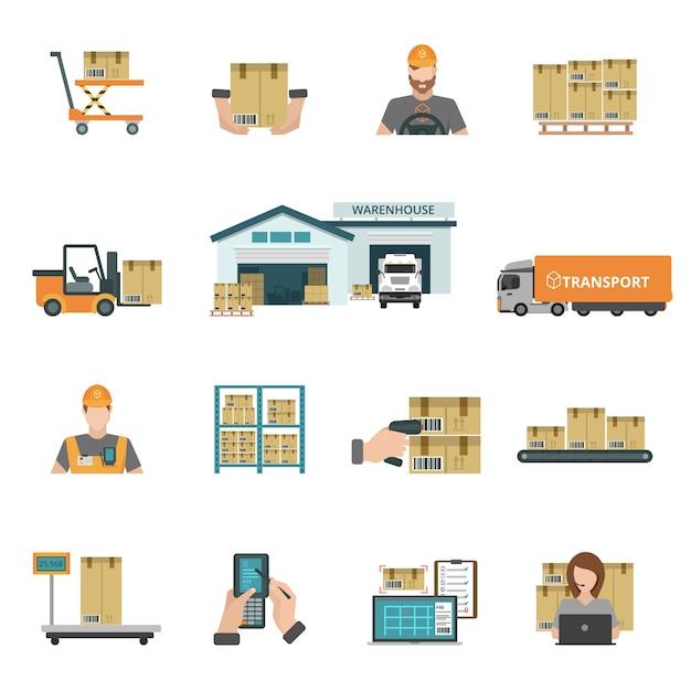 Warehouse icons set Premium Vector