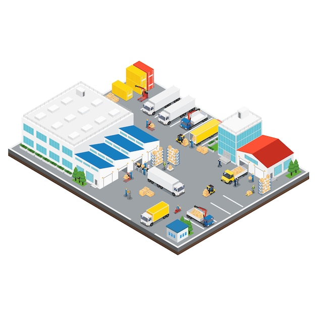 Warehouse industrial area isometric Free Vector