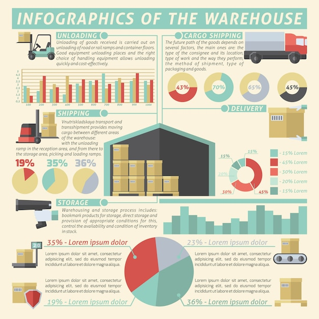 Warehouse infographic set Free Vector
