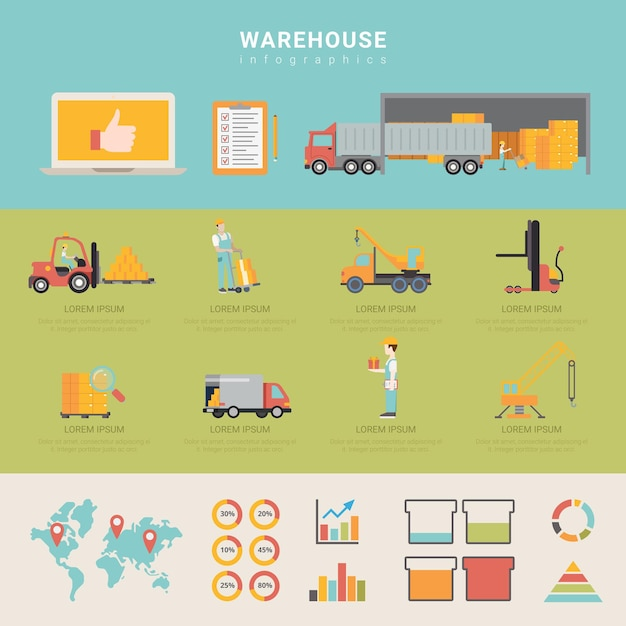 Warehouse infographics storage delivery shipping transportation business info graphic. Premium Vector