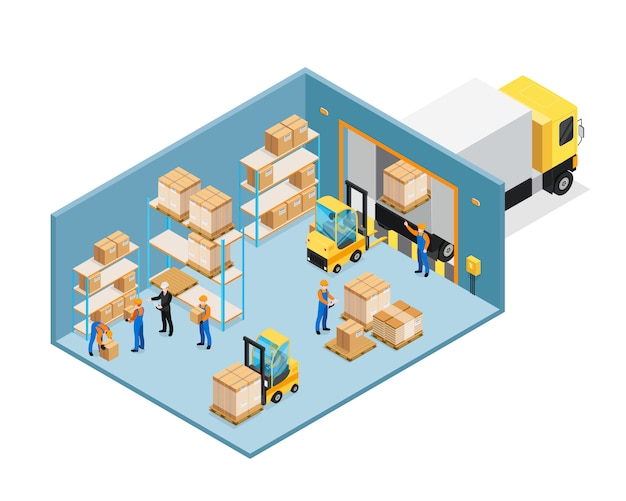 Warehouse inside isometric composition Free Vector