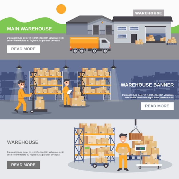 Warehouse inside and outside horizontal banners Free Vector