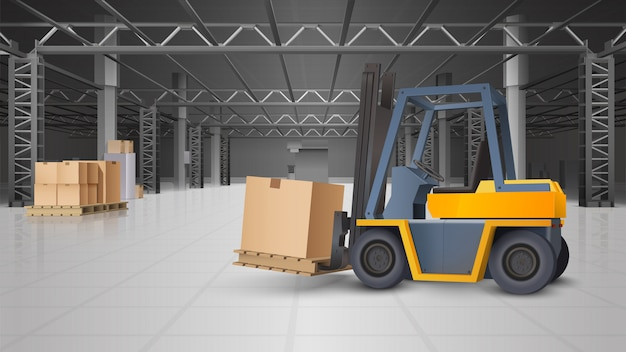 Warehouse interior and logistics background Free Vector