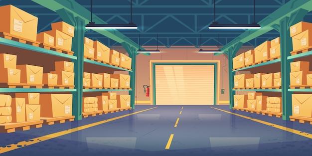Warehouse interior, logistics, cargo delivery Free Vector