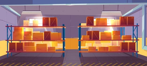 Warehouse interior, logistics. delivery, cargo, goods postal service. Free Vector