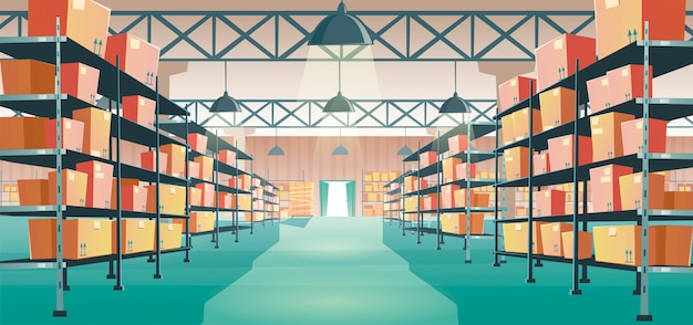 Warehouse interior with cardboard boxes on racks Free Vector