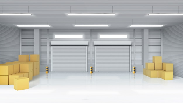 Warehouse interior with cardboard boxes Free Vector