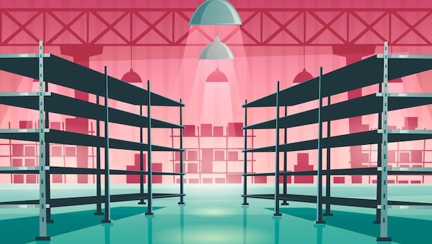 Интерьер склада с пустыми металлическими стеллажами Бесплатные векторы