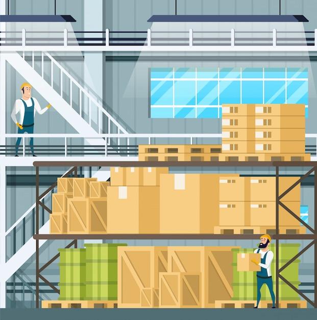 Warehouse interior with goods Premium Vector