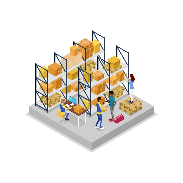 Warehouse interior with workers isometric 3d illustration Premium Vector