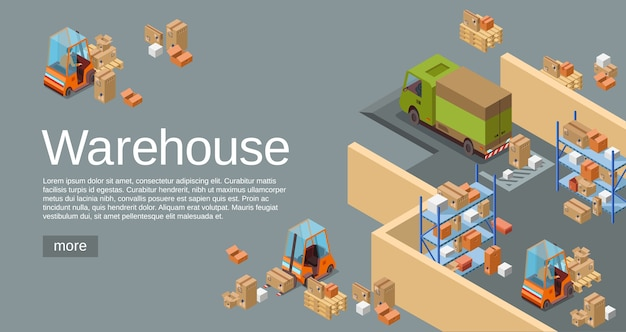 Warehouse isometric 3D of logistics transport and delivery vehicles.  Free Vector