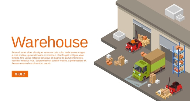 Warehouse isometric 3D of storehouse and logistics transport for web site Free Vector