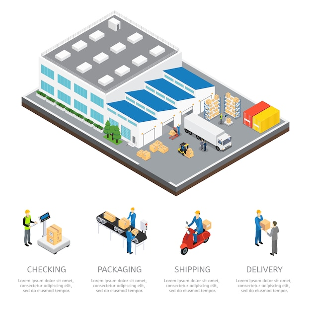 Warehouse isometric colored composition Free Vector