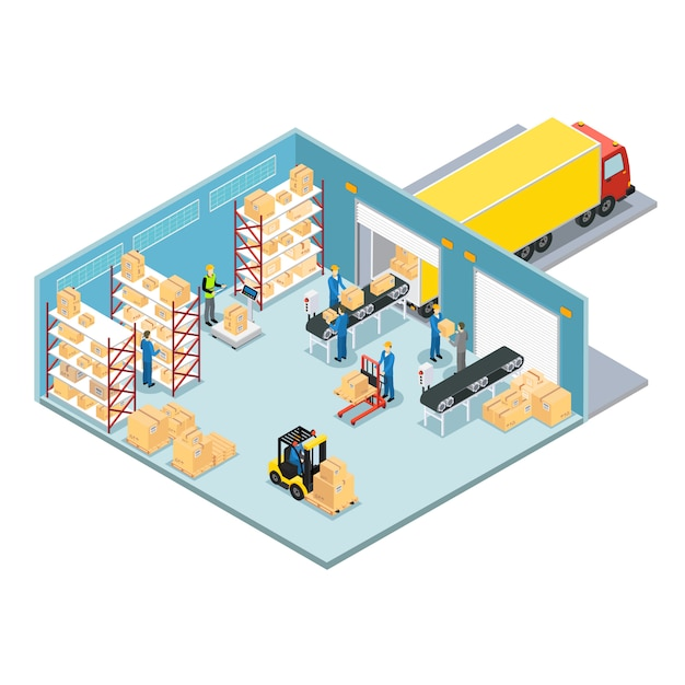 Warehouse isometric composition Free Vector
