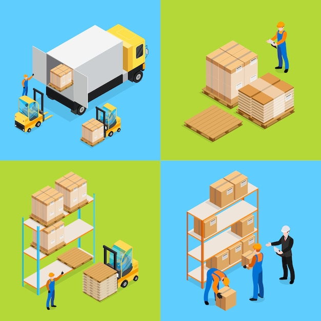 Warehouse isometric compositions Free Vector