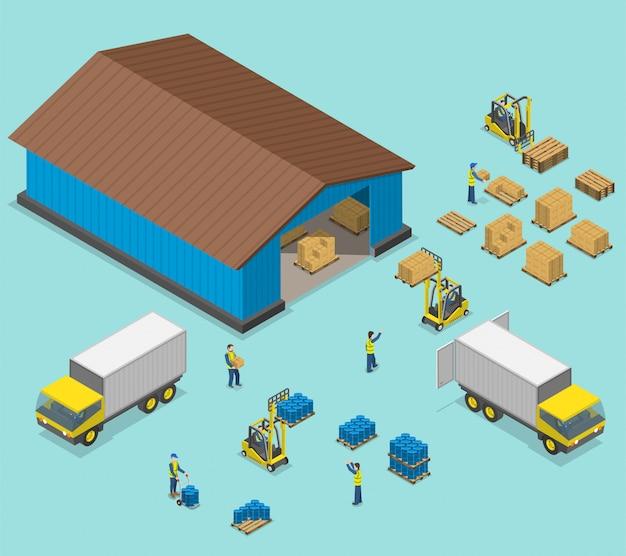 Warehouse isometric flat vector illustration. Premium Vector
